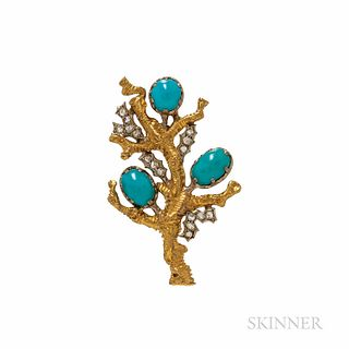 Buccellati 18kt Gold, Turquoise, and Diamond Brooch