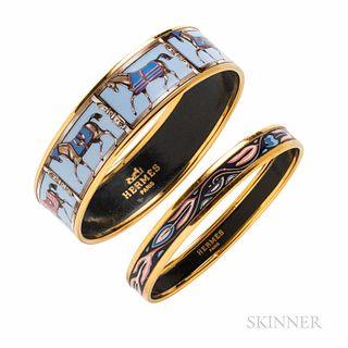 Two Hermes Enamel Bangle Bracelets