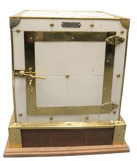 "Porcelain Tile and Brass Cigar Humidor, height 23 inches, top 16 1/4"" x 17 1/2"", (cracked tile)."