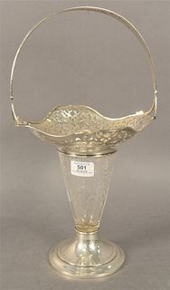 J.E. Caldwell Sterling Silver and Cut Glass Basket, marked to the underside, height 17 1/2 inches, width 9 3/4 inches.