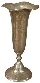 Shreve and Company Hammered Sterling Silver Trumpet Vase having weighted base, circa 1900 or later, marked to the underside, height 9 3/4 inches, 14.4