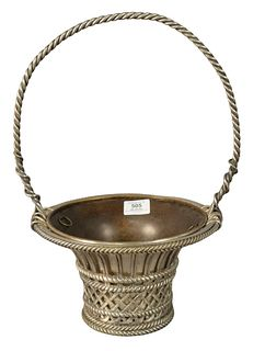 Heavy French Silver Plate and Bronze Basket, having inset basket, height 16 inches, diameter 9 1/2 inches.