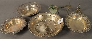 Eight Piece Group to include four sterling silver bowls, one marked Gorham, along with three small figurines, 16.9 t.oz. weighable.