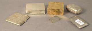 Group of Six Silver Boxes to include small cigarette box marked NIC Silver; silver cigarette case with gold wash interior; sterling soap box with embo