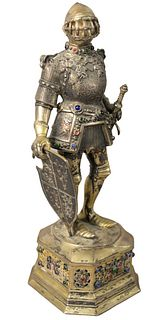 Sterling Silver Vermeil Knight having jeweled armor and standing on a base mounted with jewels, height 11 1/2 inches.