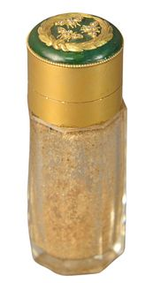 Crystal Perfume Bottle having 14 karat gold top mounted with moths having diamonds on green enameled cover, marked 14K, height 3 inches.