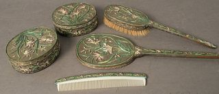 Five Piece Enameled Silver Plated Dresser Set, mirror length 13 1/2 inches.