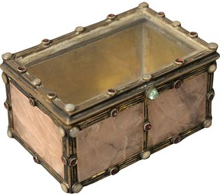 Silver and Jeweled Mounted Stone Box having glass top with stone mounted border opening to gold wash interior, bottom bearing hallmarks, height 2 inch