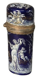 Enameled Perfume Bottle having cobalt blue enamel with white and gilt gold painted figures, opening to glass stopper and gold wash interior, height 3