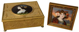 Two Piece Lot to include a French gilt bronze box having mounted and painted porcelain plaque of a woman; along with a framed, painted porcelain plaqu