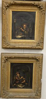 """Continental School (19th century) pair of oil on panel scenes, one depicting a dentist, both unsigned, 10"""" x 8 1/2""""."""