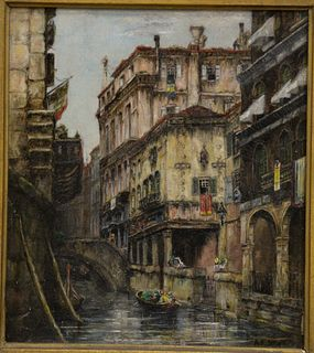 """Andrew F. Bunner (American, 1841 - 1897), Venetian canal, oil on wax lined canvas, signed lower right """"A.F. Bunner"""" 9 1/2"""" x 7 3/4""""."""