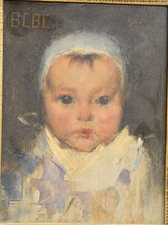 """French School (late 19th century), Bebe, oil on panel, titled upper left: Bebe, and signed indistinctly upper right, dated """"1885"""" on the reverse, 8 3/"""