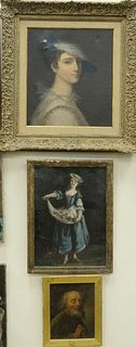 Three Piece Group of Portraits to include an oil on panel of a religious saint, unsigned; a noblewoman in a blue dress with flowers, oil on canvas, un