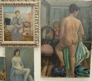 Four Piece Lot of Female Portraits, to include a large nude oil on canvas, signed indistinctly lower left; a reclining nude, oil on canvas, unsigned;