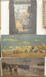 Three Piece Lot of Unframed Works on Canvas, to include a woman looking out her New York City window, unsigned; a busy beach scene, signed indistinctl