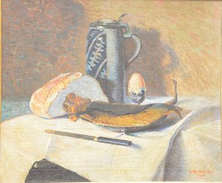 """Carl Brandt (Swedish, 1852 - 1930), still life with pitcher, oil on canvas, signed and dated lower right """"C. Brandt 1913"""", 20 1/4"""" x 24 1/4""""."""