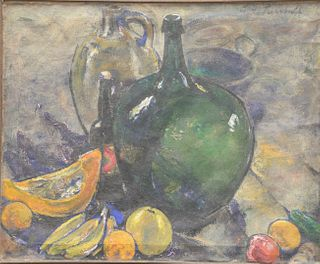 E.H. Turnbull (early 20th century), The Green Bottle, oil on canvas, signed upper right: E.H. Turnbull, titled and dated on label adhered to the stret