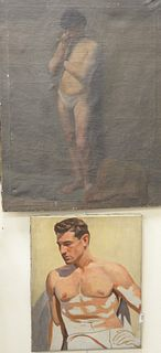 """Three Piece Lot of Male Nude Portraits, to include three oils on canvas, each unsigned, largest 33"""" x 22""""."""