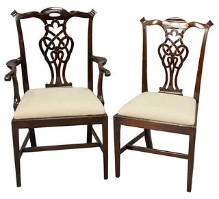 Set of Eight Mahogany Chippendale Style Dining Chairs to include two arm and six side, with newly upholstered seats, probably 19th century England, ar