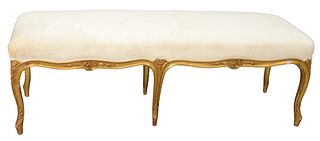 """Louis XV Style Bench having carved frame and custom upholstered top, height 21 inches, top 19"""" x 60""""."""