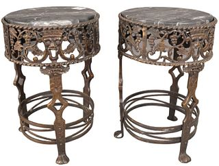 Pair of Oscar Bach Bronze and Marble Pedestals, one marble repaired, height 14 inches, diameter 10 inches.