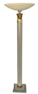 Contemporary Floor Lamp having gilt lion head and alabaster shade, height 68 inches.
