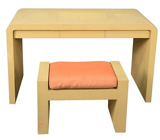Samuel Marx Style Vanity and Bench, height 29 inches, width 50 inches, depth 23 inches.