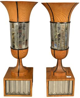 Pair of Contemporary Oak and Mirrored Urns, height 30 inches, diameter 12 inches.