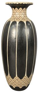 Large Raoul Lachenal French Ceramic Vase, having elongated ovoid form and geometric decoration, height 19 inches, diameter 6 inches.
