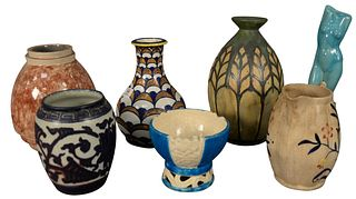 Group of Seven French Ceramic Vessels to include one red glazed vase, marked Marcel Guillard to the underside; one vase with green decoration, marked