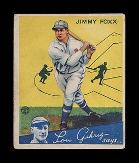 A 1934 Goudey Jimmy Foxx No. 1 Baseball Card,