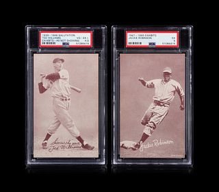 A Group of Two Hall of Fame Baseball Exhibit Cards Including a 1947-66 Jackie Robinson (PSA 5) and a 1939-46 Ted Williams (PSA 4.5)