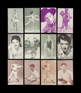 A Group of 12 Assorted Sports and Entertainment Exhibit Cards,