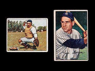 A Group of Two 1950s Bowman Yogi Berra Baseball Cards,