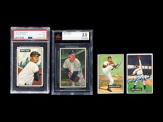 A Group of Four 1950s Bowman Baseball Cards Including a Monte Irvin Rookie Card (PSA 4.5) and Autographed Phil Rizutto,