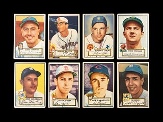 A Group of Eight 1952 Topps Baseball Cards Including Phil Rizzuto,