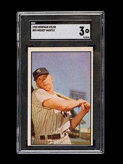 A 1953 Bowman Color Mickey Mantle Baseball Card No. 59, SGC 3