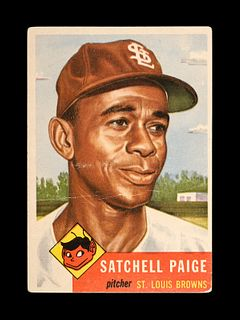 A 1953 Topps Satchel (Satchell) Paige Baseball Card No. 220