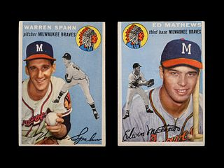 A Group of 1954 Topps Warren Spahn No. 20 and Ed Mathews No. 30 Baseball Cards