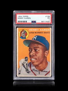 A 1954 Topps Hank Aaron Rookie Baseball Card No. 128, PSA 1