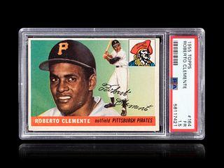A 1955 Topps Roberto Clemente Rookie Baseball Card No. 164, PSA 1.5