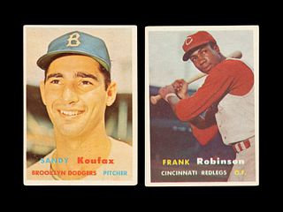 A Group of 1957 Topps Baseball Cards Including a Frank Robinson Rookie and Sandy Koufax