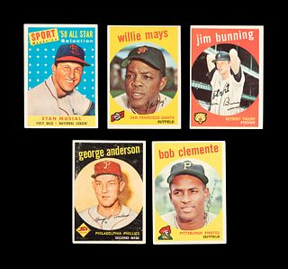 A Group of Five 1959 Topps Hall of Fame Baseball Cards,