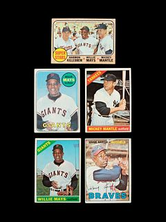 A Group of Five 1960s Mickey Mantle, Willie Mays and Hank Aaron Topps Baseball Cards,