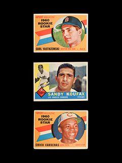 A Group of 1960 Topps Baseball Cards Including a Carl Yastrzemski Rookie and Sandy Koufax,