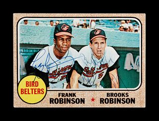 A 1968 Topps Bird Belters Card No. 530 Signed by Frank Robinson and Brooks Robinson