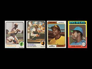 A Group of Four 1970s Topps Baseball Cards including Dave Winfield Rookie,