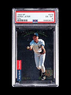 A 1993 Upper Deck SP Foil Derek Jeter Rookie Baseball Card No. 279, PSA 6 EX-MT