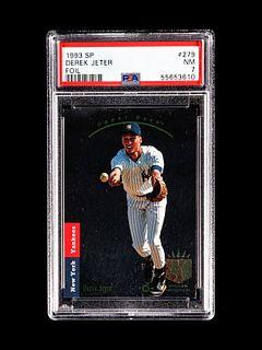 A 1993 Upper Deck SP Foil Derek Jeter Rookie Baseball Card No. 279, PSA 7 NM